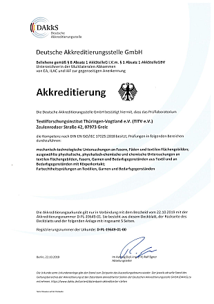 Accreditation certificate of the TITV e.V.