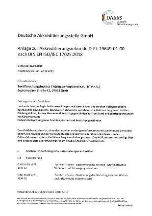 Annex to the accreditation certificate D-PL-19649-01-00 according to DIN EN ISO/IEC 17025:2018